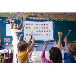 Carrillon de 13 notas, baquetas, pizarra, circulos magneticos y partituras.