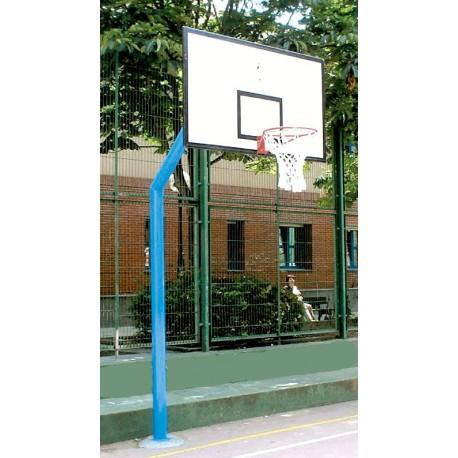 Juego de canastas de baloncesto mod. INDE. 1 Columna tubo de 140x4mm. Empotrables. Tableros de chapa metalica