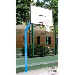 JUEGO CANASTAS BALONCESTO, mod. INDE, 1 COLUMNA tubo de 140x4 ó 120x120x4 mm., EMPOTRABLES. Tableros de madera  antihumeda