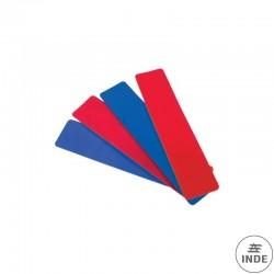 TIRAS RECTAS DE CAUCHO. 6 azules y 6 rojas. Longitud 500 mm