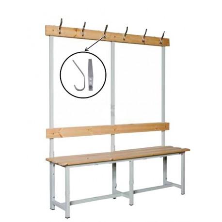 BANCO DE VESTUARIO estructura metálica, 3 listones de madera, respaldo y perchero. MT LINEAL