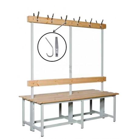BANCO DE VESTUARIO doble. Estructura metálica, asiento de madera, respaldo y perchero. MT LINEAL