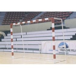 JUEGO PORTERIAS BALONMANO/FUTBOL SALA ALUMINIO con arquillos verticales atornillables trasladables SEGÚN NORMA EN-749