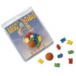JUEGO TABAS plástico macizo: 8 tabas y 1 pelota.