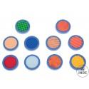 Set de sensaciones tactiles,compuesto por 10 discos con texturas diferentes.