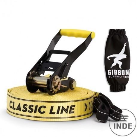 SLACKLINE GIBBON CLASSIC. 15m de largo y 50mm de ancho. 100% polester con correas de seguridad. Carga 4T.