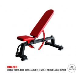 BANCO regulable, asiento y respaldo. Tubo de acero de 100x50x3 mm. Con ruedas