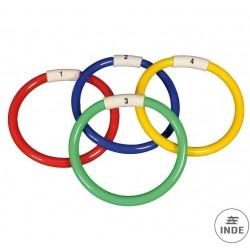 Juego de 4 anillas de buceo flexibles,numeradas y de diferentes colores