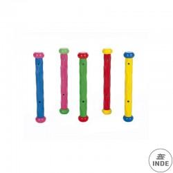 Juego de 5 bastones de buceo flexibles y  de diferentes colores.