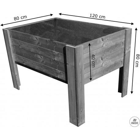 Mesa de cultivo de madera de pino antihumedad autoclave. Medidas: 1,2x0,8x0,8 m. Profundidad 40 cm