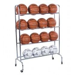 CARRO estantería 16 balones. Tubo metálico con ruedas. 118x65x63