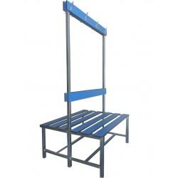 BANCO DE VESTUARIO Estructura metálica tubo de 30x30 mm., asiento de fenolico, respaldo y perchero. M lineal.