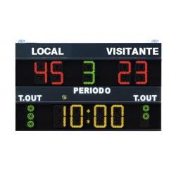 MARCADOR ELECTRONICO MULTIDEPORTE. baloncesto, voleibol, futbol sala, balonmano. Dimensiones: 200x120cm. Via radio y cable