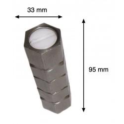JUEGO DE 4 CASQUILLOS DE ACERO INOXIDABLE con tapa. Para atornillar. Dimensiones: 95x33mm