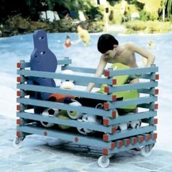 CARRO PORTAMATERIAL de piscina, sintético, muy sólido y fácil de limpiar. Medidas 1000X870X800MM. Sin tapa.